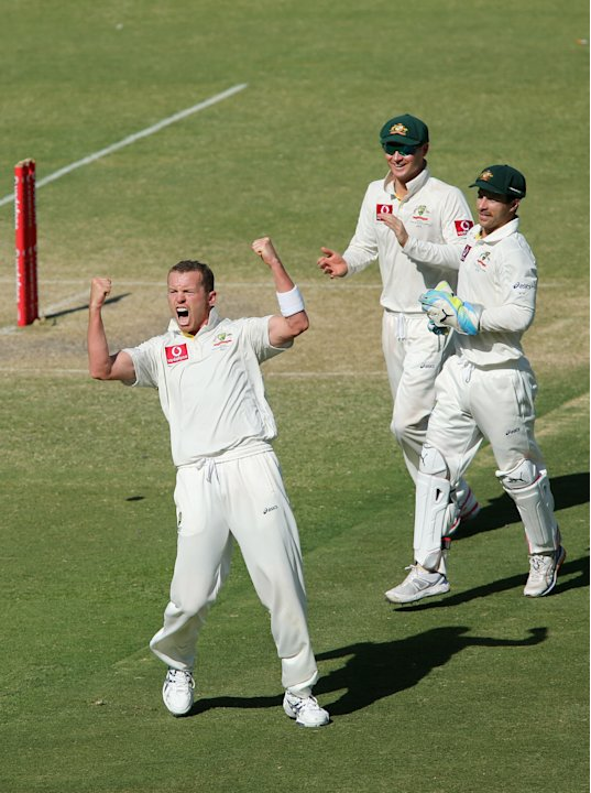 ADELAIDE, AUSTRALIA - NOVEMBER 26: Peter Siddle of Australia celebrates after getting the wicket of Dale Steyn of South Africa during day five of the Second Test Match between Australia and South Afri