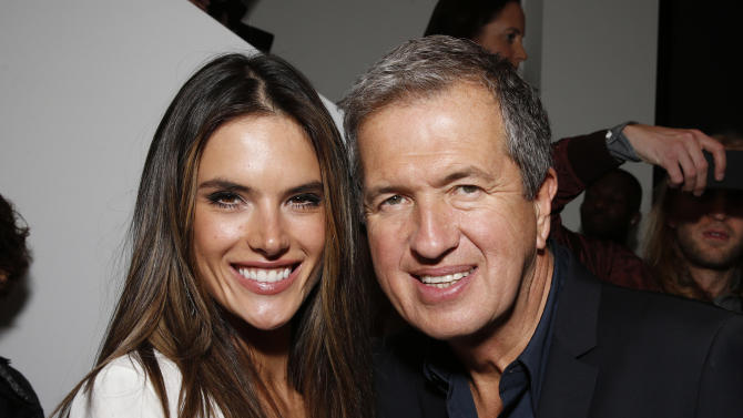 IMAGE DISTRIBUTED FOR PORTON - Alessandra Ambrosio and Mario Testino celebrate the Peruvian native's Fashion Icon Exhibit with cocktails by Porton at Prism on Saturday February 23, 2013 in Los Angeles. (Photo by Todd Williamson/Invision for Porton/AP)