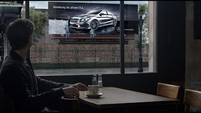 """This undated screenshot provided by Mercedes Benz shows the Super Bowl advertisement for the company. The majority of the 30-plus Super Bowl advertisers have been releasing their ads in the days leading up to the game, advertising fans already can catch a glimpse of """"Spider-Man"""" actor Willem Dafoe in a Mercedes-Benz ad. (AP Photo/Mercedes Benz)"""
