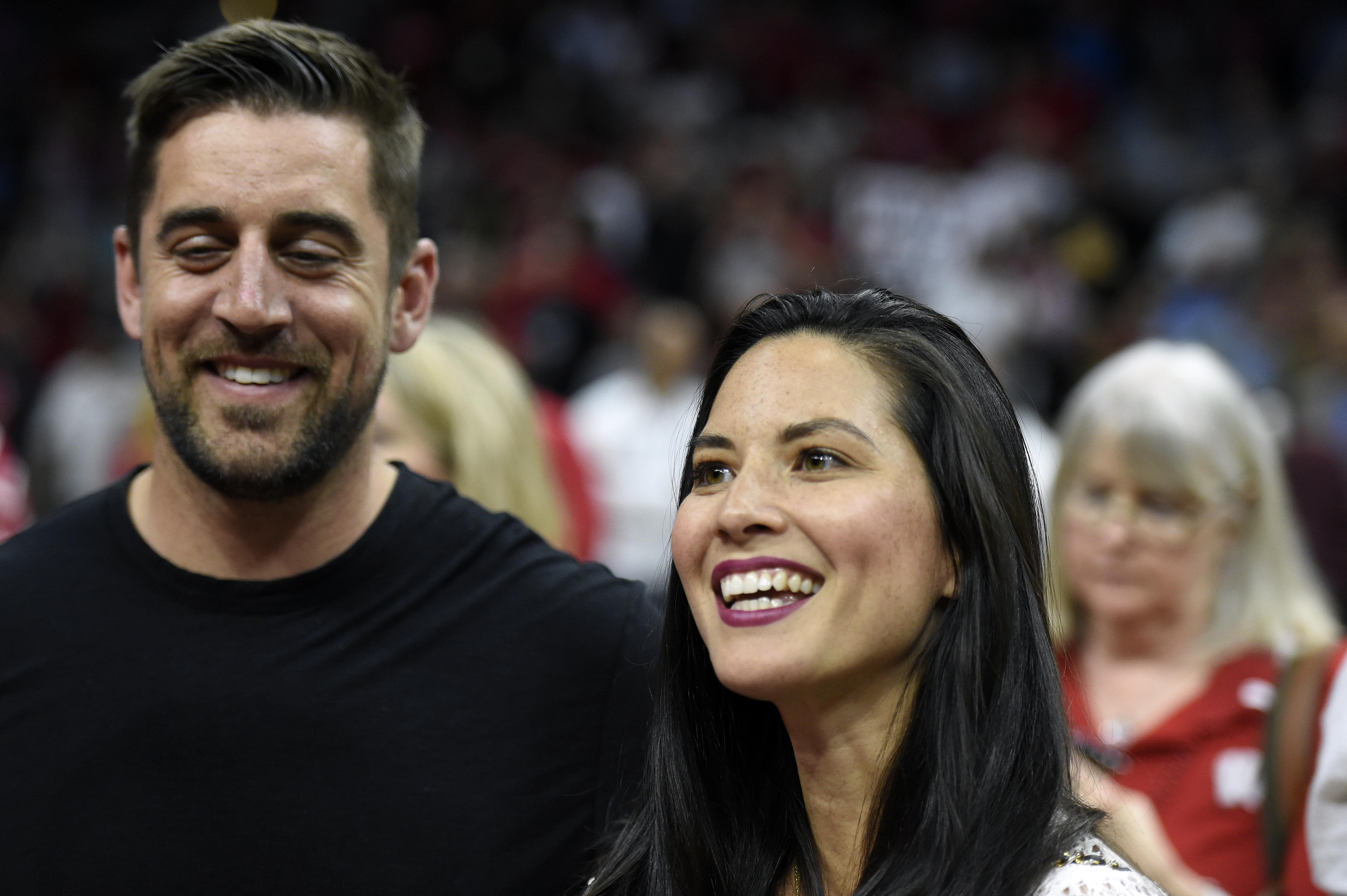 Aaron Rodgers and Olivia Munn - Wisconsin super fans