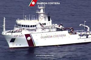 In this video grab released by the Italian Coast Guard…