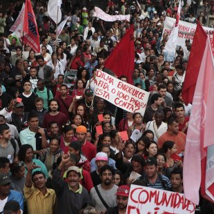 Demonstrators protest against the government in Sao Paulo