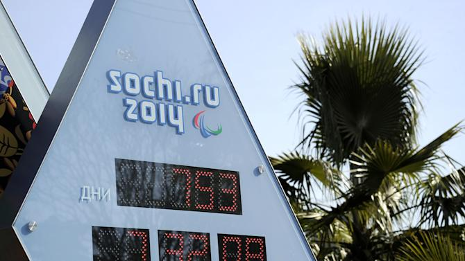A photo taken on February 13, 2012 shows an Olympic countdown clock in the Black Sea resort of Sochi, displaying 753 days left before the event. Sochi will host the 2014 Winter Olympics, which will start on February 7, 2014.  AFP PHOTO/ FABRICE COFFRINI (Photo credit should read FABRICE COFFRINI/AFP/Getty Images)