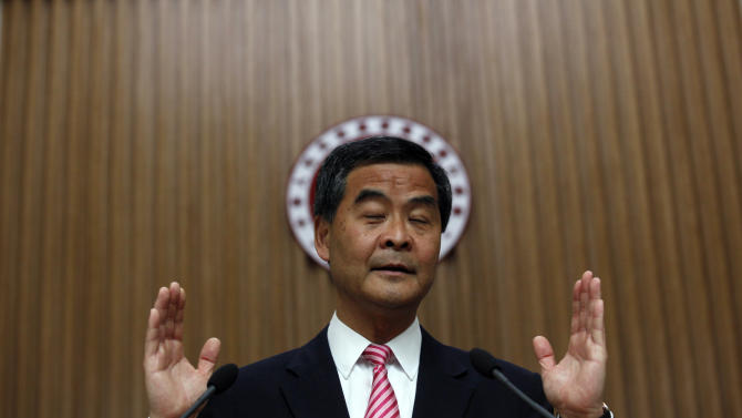 In this photo taken Friday, Sept. 7, 2012, Hong Kong Chief Executive Leung Chun-ying speaks to the media two days before the Legislative Council election at the government headquarters in Hong Kong. China's territory of Hong Kong has a high degree of autonomy, freedom of the press and limited democracy, but its politics remains highly constrained by Beijing's wariness over threats to its authority.  (AP Photo/Kin Cheung)