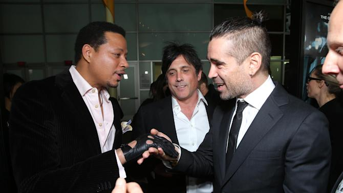 """Terrence Howard, Screenplay Writer J.H Wyman and Colin Farrell at FilmDistrict's World Premiere of """"Dead Man Down"""" held at the ArcLight Hollywood, on Tuesday, Feb. 26, 2013 in Los Angeles. (Photo by Eric Charbonneau/Invision for FilmDistrict/AP Images)"""