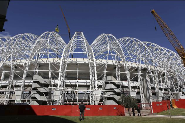 A view of the construction of the Beira-Rio Stadium in Porto Alegre