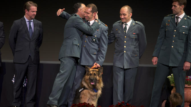 Police dog Ajax  looks on as by his handler, Civil Guard Sergeant Juan Carlos Alabarces Munoz, 3rd left embraces a colleague after the dog won a medal in Mostoles, just outside of Madrid, Spain Tuesday June 11, 2013. The Spanish police dog has received an award by a British animal defense group in recognition of his bravery on detecting a bomb on the Spanish island of Mallorca  allowing police to explode it.  Ajax, a bushy-coated gold and black 12-year-old German Shepherd  was presented with the award Tuesday at a ceremony on the outskirts of the Spanish capital by representatives of the People's Dispensary for Sick Animals.(AP Photo/Paul White)