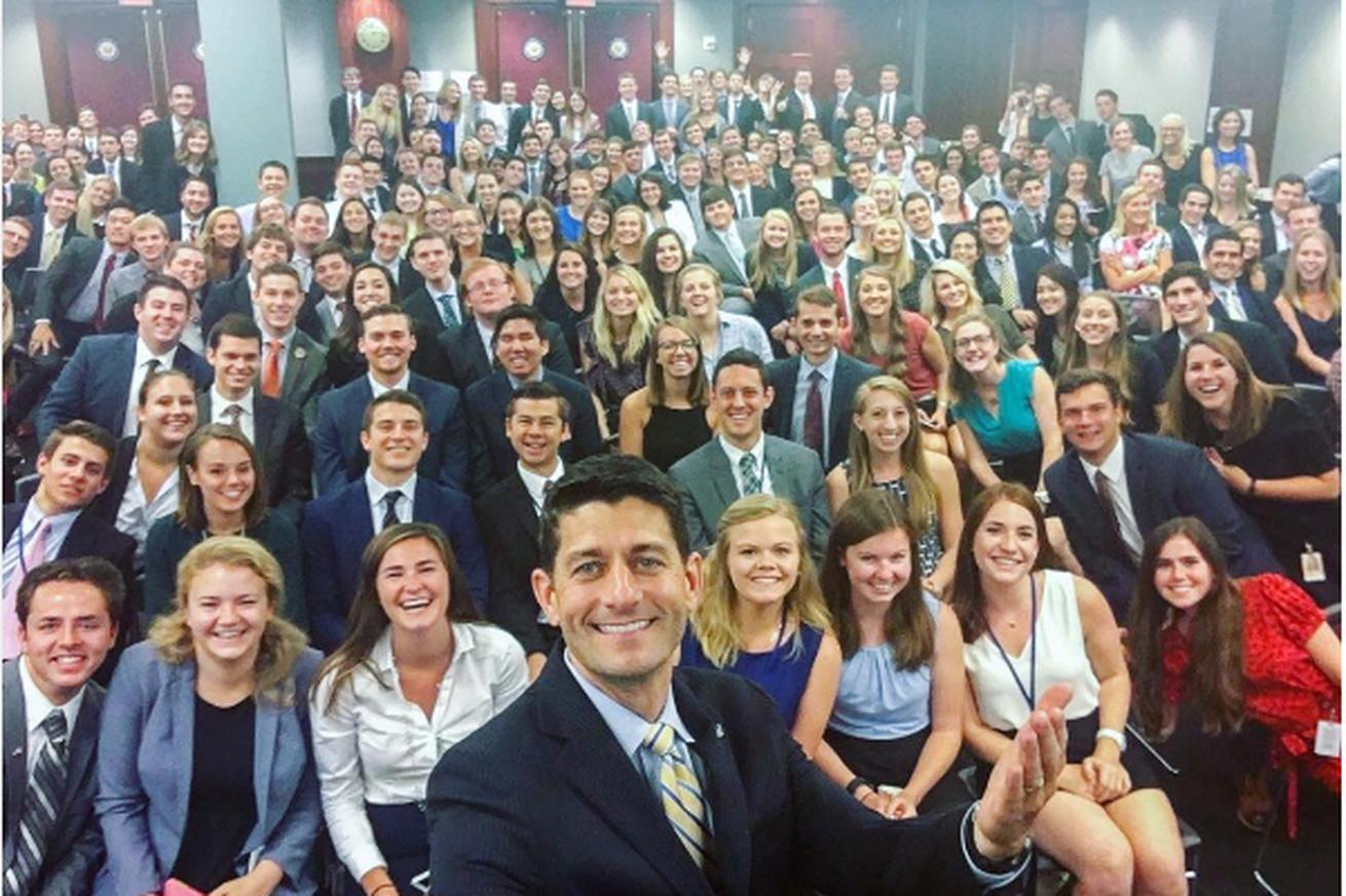 Two congressional intern selfies. Only one actually looks like America.