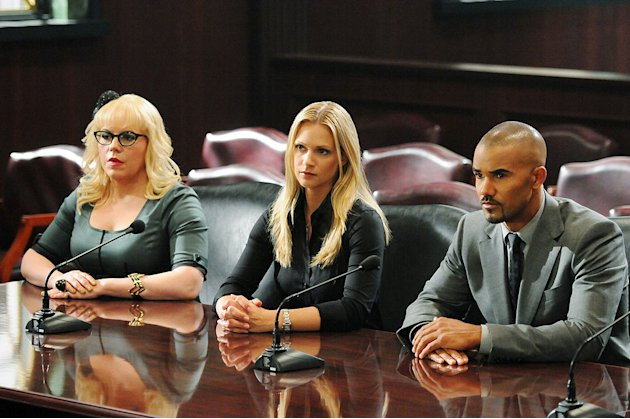 &quot;It Takes A Village&quot; -- Garcia (Kirsten Vangsness), JJ (A.J. Cook) and Morgan (Shemar Moore) are questioned by a Senate Committee for their retaliatory actions in the wake of Prentiss loss, on the se
