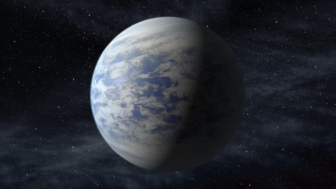This artist's rendition provided by NASA shows Kepler-69c, a super-Earth-size planet in the habitable zone of a star like our sun, located about 2,700 light-years from Earth in the constellation Cygnus. Astronomers using NASA data calculate that in our galaxy alone there are at least 8.8 billion Earth-sized planets that are not too hot or not too cold circle stars that are just like our sun, according to a study published Monday, Nov. 4, 2013 in the journal Proceedings of the National Academy of Science. For perspective, that's far more Earth-like planets than there are people on Earth. (AP Photo/NASA/Ames/JPL-Caltech)