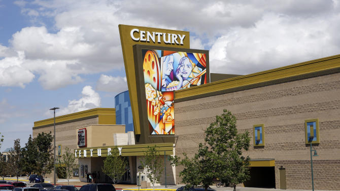 The Century theater is pictured in Aurora, Colo., on Friday, July 19, 2013. It was closed for six months after the shooting where 12 people were killed and 70 injured. After being remodeled the name was changed from Century 16 to Century. Saturday July 20 is the anniversary of the Aurora theater shootings. (AP Photo/Ed Andrieski)