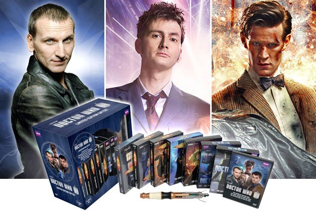 "Doctors nine (Christopher Eccleston), 10 (David Tennant), and 11, which is the current Doctor, played by Matt Smith, of ""Doctor Who,"" plus, the ""Doctor Who Limited Edition Gift Set."""