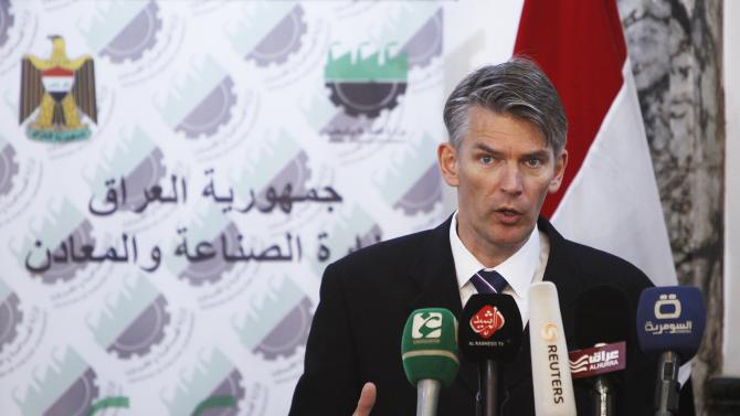Vice President at Royal Dutch Shell Hans Nijkamp speaks during news conference in Baghdad