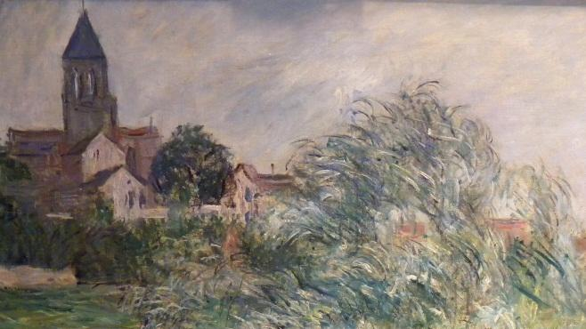 """In this photo provided by the United States Attorney's Office in New York shows an  1881 painting by Impressionist master Claude Monet entitled """"L'Eglise et La Seine a Vetheuil.""""  Vilma Bautista, one time secretary to Philippine's first lady Imelda Marcos, was indicted in New York, Tuesday, Nov. 20, 2012, on charges of conspiracy, tax fraud and offering a false instrument for filing for attempting to illegally sell this work and others that disappeared as Ferdinand Marco's regime collapsed in the late 1980's. (AP Photo/United States Attorney's Office)"""