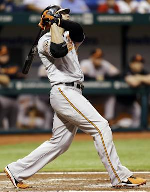 Baltimore Orioles' Chris Davis follows the flight of his fourth-inning home run off Tampa Bay Rays starting pitcher James Shields during a baseball game, Tuesday, Oct. 2, 2012, in St. Petersburg, Fla. (AP Photo/Chris O'Meara)
