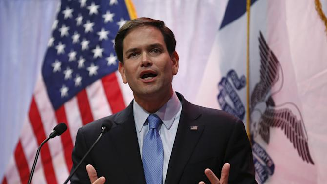 U.S. Presidential candidate and Republican Senator of Florida Marco Rubio speaks at the Iowa Faith and Freedom Coalition's forum in Waukee