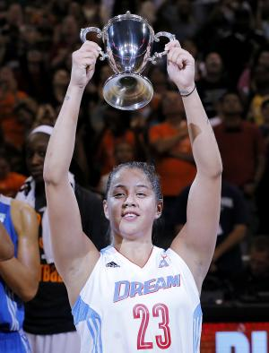 East's Shoni Schimmel, of the Atlanta Dream, holds up the MVP trophy after the WNBA All-Star basketball game, Saturday, July 19, 2014, in Phoenix. The East won 125-124 in overtime. (AP Photo/Matt York)