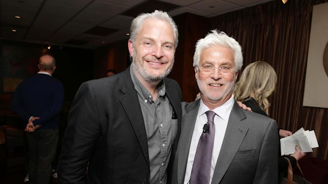 "Francis Lawrence, Director of the upcoming film ""The Hunger Games: Catching Fire"" and Lionsgate's Rob Friedman at Lionsgate Presentation at 2013 CinemaCon, on Thursday, April, 18th, 2013 in Las Vegas. (Photo by Eric Charbonneau/Invision for Lionsgate/AP Images)"