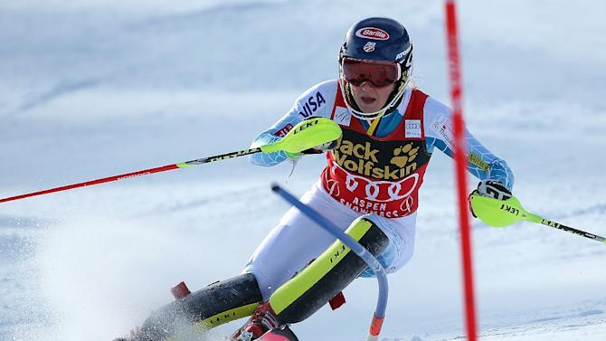 Mikaela Shiffrin of the United States competes in the first run of slalom during the Audi FIS Women's Alpine Ski World Cup at the Nature Valley Aspen Winternational on November 29, 2015 in Aspen, Colorado