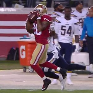 San Diego Chargers quarterback Philip Rivers picked off by San Francisco 49ers cornerback Perrish Cox