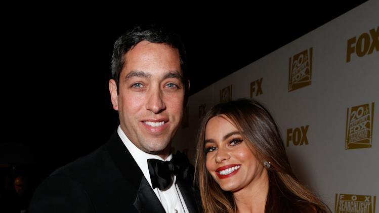 Actress Sofia Vergara, right, and Nick Loeb attend the Fox Golden Globes Party on Sunday, January 13, 2013, in Beverly Hills, Calif. (Photo by Todd Williamson/Invision for Fox Searchlight/AP Images)