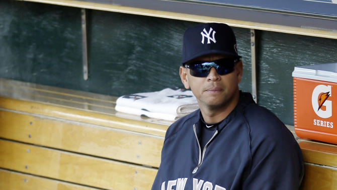 New York Yankees' Alex Rodriguez sits on the bench before Game 4 of the American League championship series against the Detroit Tigers Thursday, Oct. 18, 2012, in Detroit. (AP Photo/Matt Slocum)