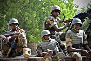 Niger soldiers provide security for an anti-Boko Haram…