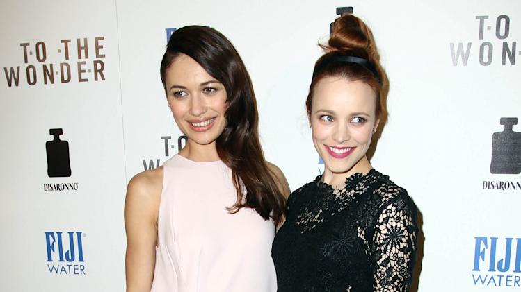 "IMAGE DISTRIBUTED FOR FIJI WATER - Actress Rachel McAdams, right, and actress Olga Kurylenko pose together at the premiere of ""To The Wonder"" hosted by FIJI Water on Tuesday, April 9, 2013 in Los Angeles. (Photo by Matt Sayles/Invision for Fiji Water/AP Images)"