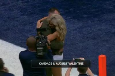 Rams set up preseason surprise by reuniting cheerleader with military husband