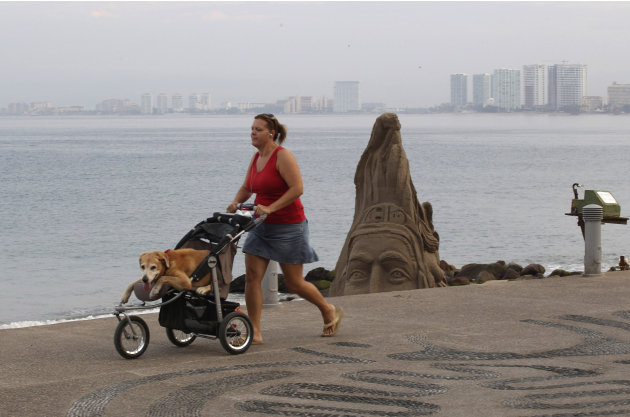 A woman pushes her dog in a baby stroller along the beach in the resort city of Puerto Vallarta, Mexico, Friday, May 25, 2012. Hurricane Bud lost a little of its sting early Friday, but remained a pot