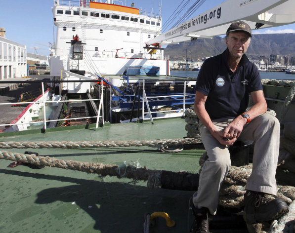 "In this photo taken Thursday, Jan. 3, 2013, British explorer Ranulph Fiennes on board the polar vessel S.A. Agulhas in Cape Town, South Africa. Feinnes has embarked on an expedition that he describes as one of the last remaining polar challenges; crossing Antarctica during the regions winter. Feinnes and his five-member team left Monday, Jan 7, 2013, for what they have dubbed ""The Coldest Journey."" (AP Photo)"