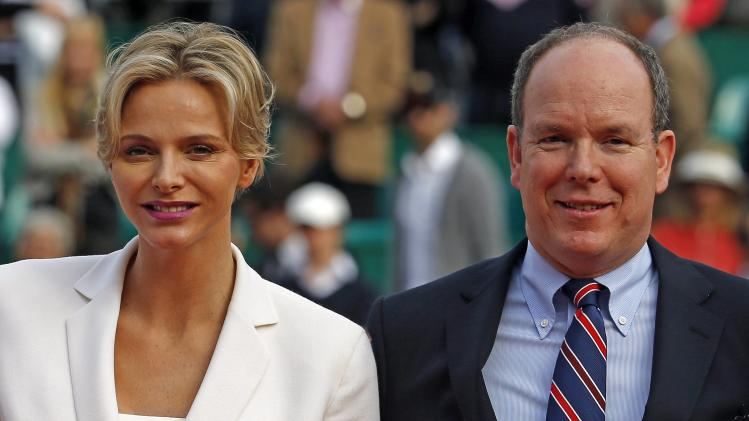 Princess Charlene and Prince Albert II of Monaco attend the final match between Federer and Wawrinka of Switzerland at the Monte Carlo Masters in Monaco