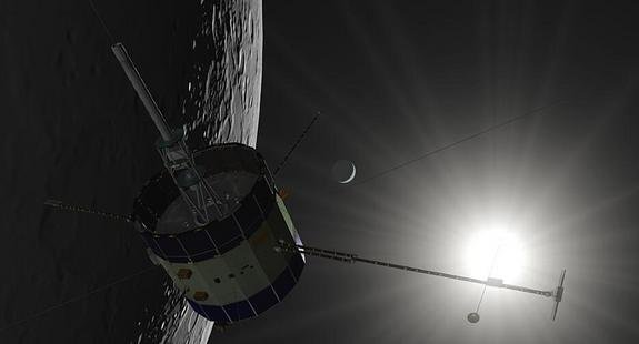 An artist's illustration of NASA's 36-year-old ISEE-3 spacecraft near the moon. The private ISEE-3 Reboot Project aims to restart the vintage probe to perform new science in space.