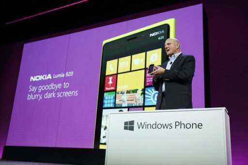 &lt;p&gt;Microsoft CEO Steve Ballmer holds a Nokia Lumia 920 smartphone during a Windows Phone 8 launch October 29. Microsoft set out to win over iPhone or Android gadget devotees with Windows 8 smartphones that emphasize individualism and unify digital lives in the Internet cloud.&lt;/p&gt;