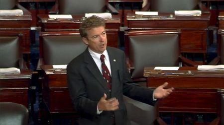 Video grab shows U.S. Senator Paul speaking on the floor of the U.S. Senate in Washington