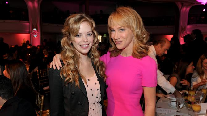 Actress Dreama Walker, left, and Kathy Griffin pose for a photo at The Hollywood Reporter's 21st Annual Women in Entertainment Power 100 breakfast presented by Lifetime on Wednesday, Dec. 5, 2012 in Beverly Hills, Calif.  (Photo by John Shearer/Invision for The Hollywood Reporter/AP Images)