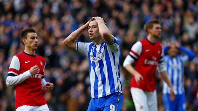 Brighton's Ashley Barnes, centre, will serve a seven-match ban
