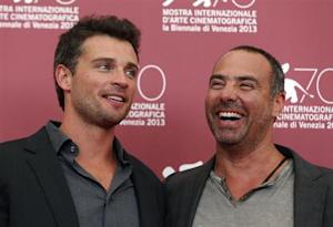 """Actor Welling and director Landesman pose during a photocall for their movie """"Parkland"""" at the 70th Venice Film Festival"""