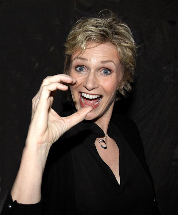 "Jane Lynch poses backstage at ""Love, Loss and What I Wore"" at The Westside Theater on November 12, 2009 in New York City."