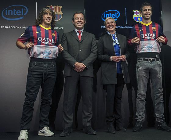 Intel puts its logo inside FC Barcelona's shirt