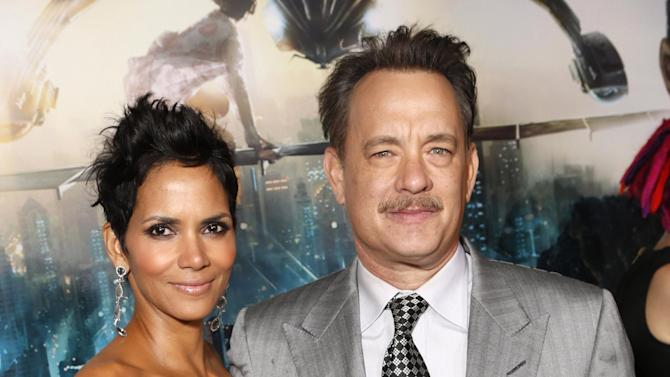 Halle Berry and Tom Hanks arrive at the Los Angeles premiere of 'Cloud Atlas' at Grauman's Chinese Theatre on October 24, 2012 in Hollywood, California.  (Photo by Todd Williamson/Invision/AP Images)