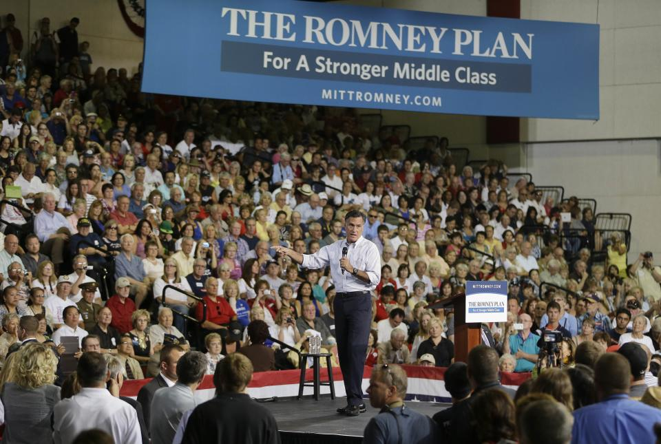 Republican presidential candidate and former Massachusetts Gov. Mitt Romney speaks to supporters during a rally Friday, Sept. 21, 2012, in Las Vegas. (AP Photo/Julie Jacobson)