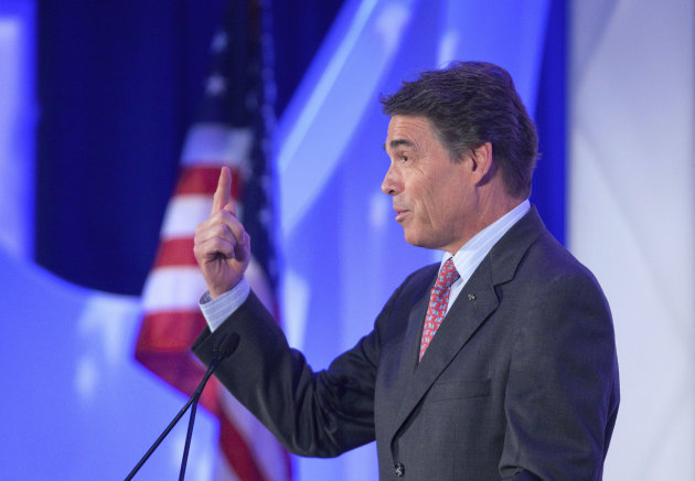 Republican presidential candidate, Texas Gov. Rick Perry delivers a speech at the Georgia Legislative Briefing, Friday, Sept. 30, 2011, in Atlanta. (AP Photo/David Goldman)