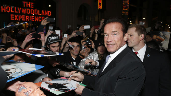 "Arnold Schwarzenegger attends the LA premiere of ""The Last Stand"" at Grauman's Chinese Theatre on Monday, Jan. 14, 2013, in Los Angeles. (Photo by Todd Williamson/Invision/AP)"