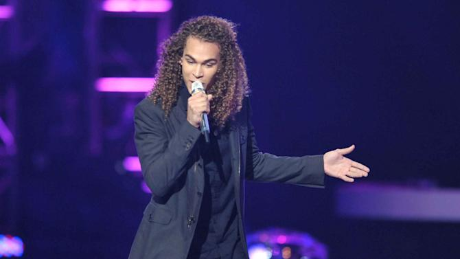 Deandre Brackensick performs onstage at the American Idol Finale on Wednesday, May 23, 2012 in Los Angeles. (Photo by John Shearer/Invision/AP)