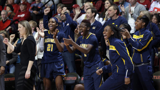 California head coach Lindsey Gottlieb, celebrates with the team after a win over Stanford during an NCAA college basketball game in Stanford, Calif., Sunday, Jan. 13, 2013. California won 67-55. (AP Photo/Marcio Jose Sanchez)
