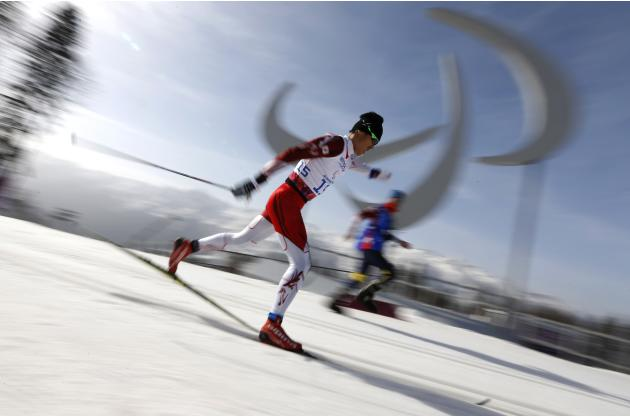Japan's Yoshihiro Nitta skis during the men's 20 km cross-country standing at the 2014 Sochi Paralympic Winter Games in Rosa Khutor