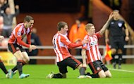 James McClean, right, celebrates scoring Sunderland's opener