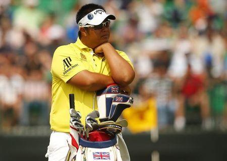Kiradech Aphibarnrat of Thailand waits on the fourth hole during the second round of the British Open Championship at the Royal Liverpool Golf Club in Hoylake