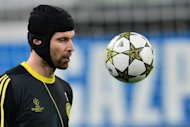 Chelsea goalkeeper Petr Cech trains at the Juventus Stadium in Turin on November 19, 2012. Holders Chelsea and Scottish champions Celtic can seal their places in the Last 16 of the Champions League on Tuesday but they will have to do it the hard way by winning away from home